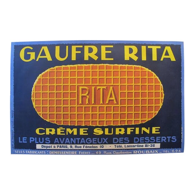 1925 Original Horizontal French Food Poster, Gaufre Rita Waffle For Sale