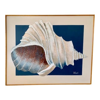 """1970's Lee Reynolds """"Conch Shell on Blue Square"""" Handpainted Serigraph For Sale"""