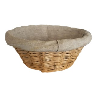 Early 1900s French Bread Basket With Liner