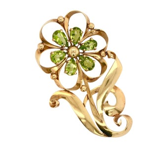 Retro Large Tiffany & Co 14k Gold Peridot Flower Brooch For Sale