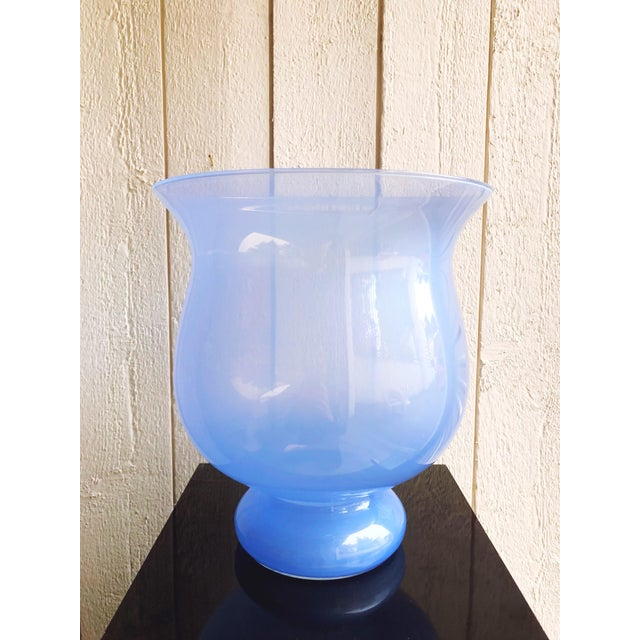 Late 20th Century Italian Glass Urn Vase in Periwinkle For Sale - Image 5 of 5