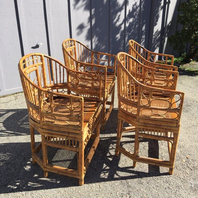 1970s 1970s Vintage Brighton Pavilion Bamboo, Ratan and Cane Chairs- Set of 4 For Sale - Image 5 of 13