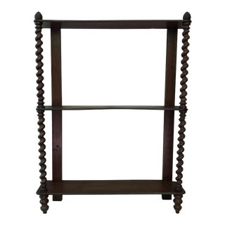19th Century French Mahogany Wood Shelf with Twisted Column For Sale