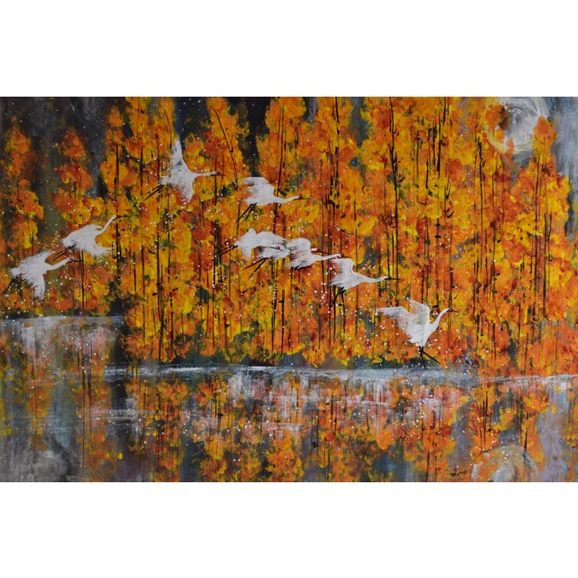 Chinese Chinese Yongqun Guo Painting, Cranes Flying Against Autumn Trees For Sale - Image 3 of 13
