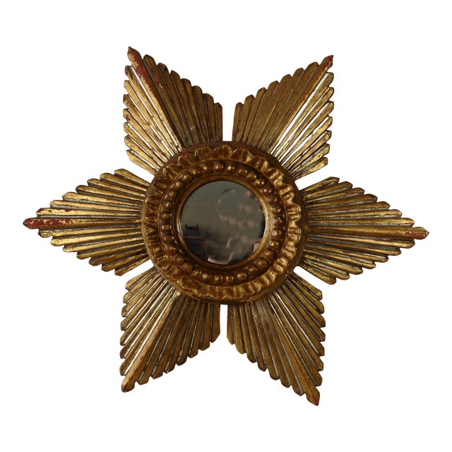 Sunburst Star Gilded & Silver Wood Mirror - Image 1 of 6