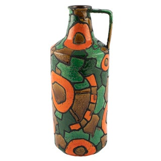 Alvino Bagni for Raymor Orange and Green Vase, Circa 1960s For Sale
