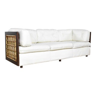 Modern White Leather and Dark Wood Cube Case Sofa With Rattan Panel Inserts For Sale