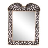 Image of 1990s Italian Webbed Fretwork Mirror in Painted Ebony Wash and Silver Leaf Finish With Aged Glass For Sale
