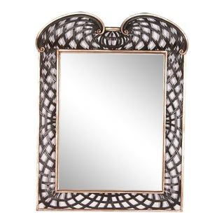 1990s Italian Webbed Fretwork Mirror in Painted Ebony Wash and Silver Leaf Finish With Aged Glass For Sale
