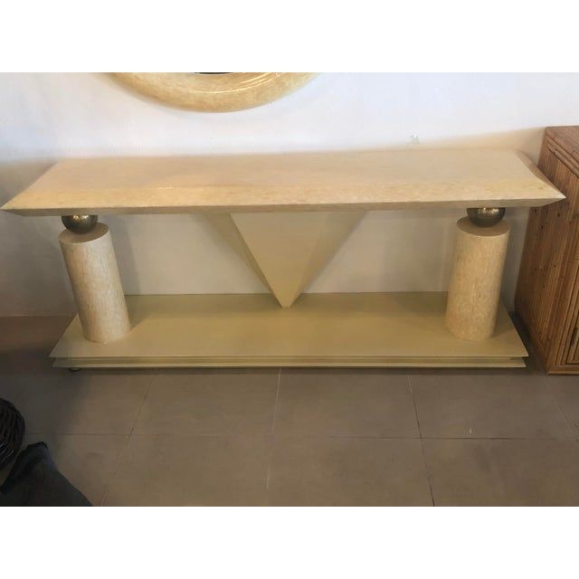 1970s Vintage Bone Brass Console Table and Wall Mirror Set For Sale - Image 5 of 13