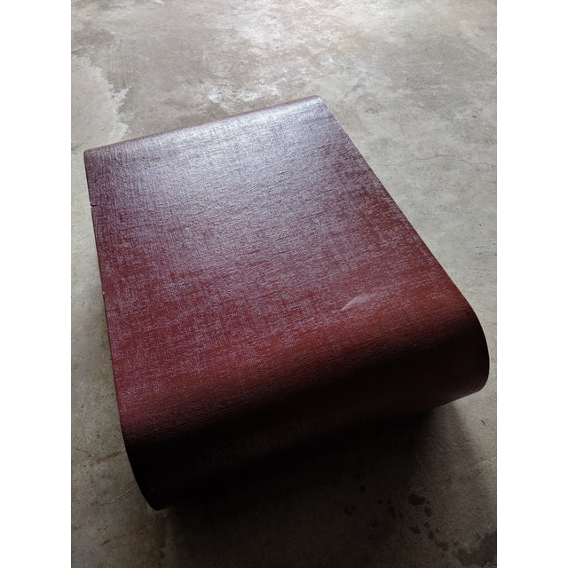 Red Karl Springer Style Lacquered Scroll Cocktail Table For Sale - Image 8 of 13