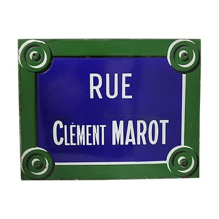 Rue Clèment Marot Paris Street Sign For Sale