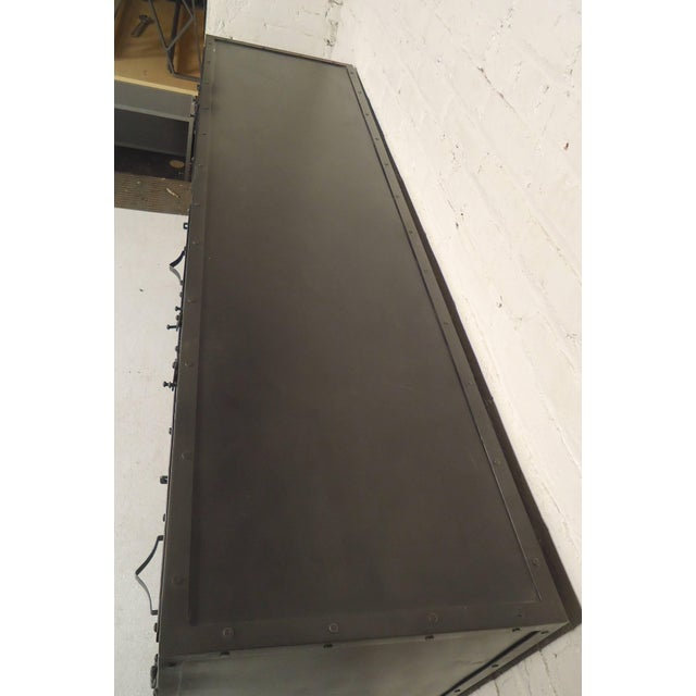 Industrial Black Metal Console For Sale - Image 3 of 6