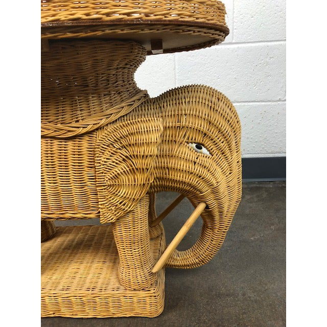 Boho Chic Vintage Woven Rattan Elephant Tray Table For Sale - Image 3 of 13
