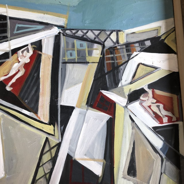 Abstract Original Contemporary Stewart Ross Modernist Roof Top Abstract Large Painting Vintage Modernist Frame For Sale - Image 3 of 6
