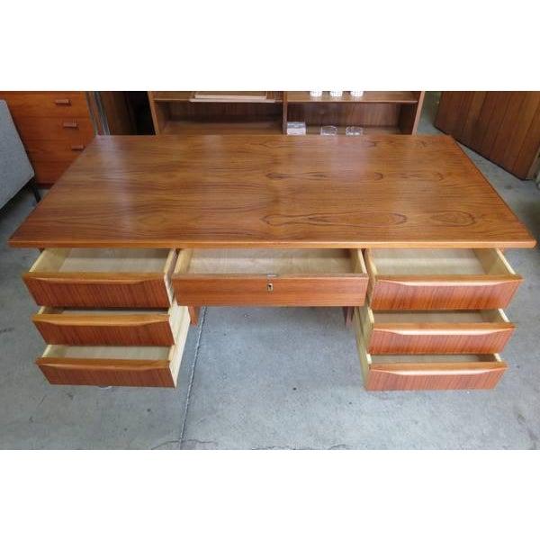 1960s Danish Modern Teak Desk With Bookshelf Back For Sale - Image 4 of 6