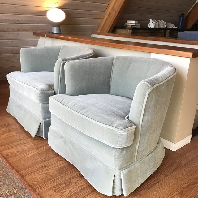 Mid-Century Modern Mohair Club Chairs For Sale - Image 3 of 9