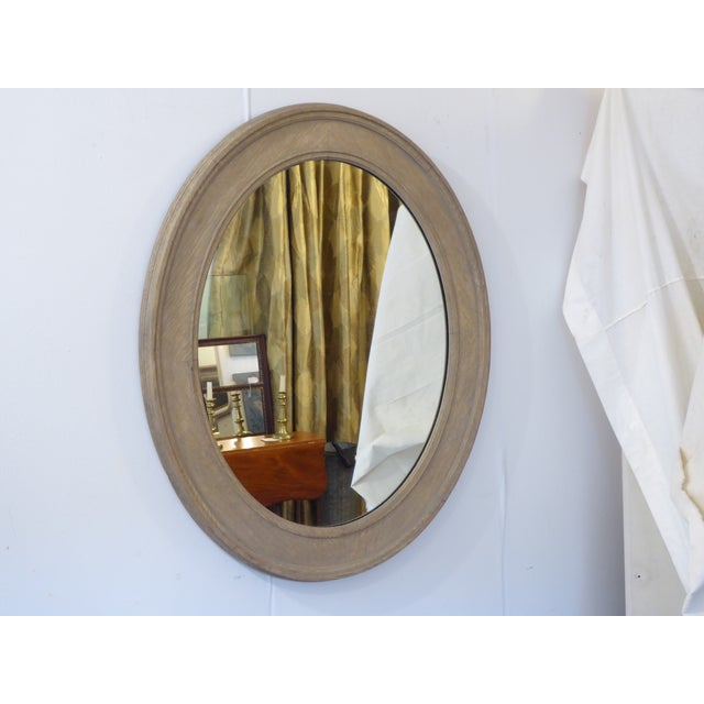 Vintage Grayed Weathered Oak Oval Mirror For Sale - Image 4 of 4