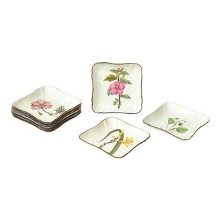 Set of Eight English Pearlware Botanical Square Dishes For Sale