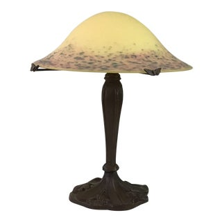 1950s Pate De Verre Table Lamp With Shade For Sale