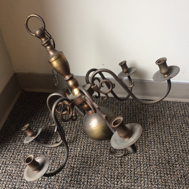 Traditional Antique Brass Candle Holder Chandelier For Sale - Image 3 of 7