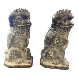 Concrete Rotten Stone Rubbed Foo Dog Statues - A Pair For Sale