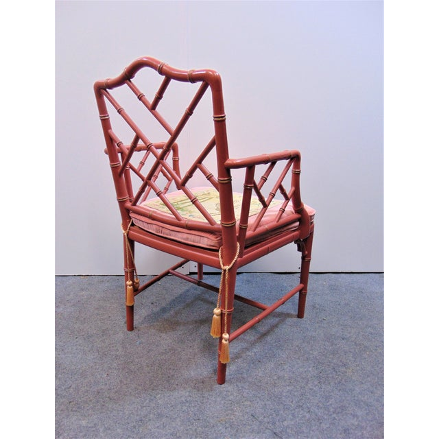 Faux Bamboo Mid 20th Century Regency Faux Bamboo Rose Arm Chairs - a Pair For Sale - Image 7 of 9