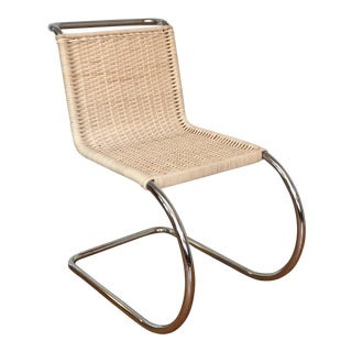 Vintage Mies Van Der Rohe Mr10 Chrome & Rattan Chairs - Set of 6, Offered Individually For Sale