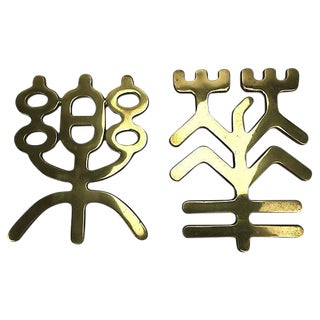 Japanese Brass Wall Hangings - a Pair For Sale
