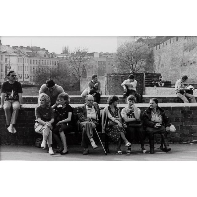1987 Vintage Black & White Photograph of the Street Scene in Warsaw, Poland For Sale