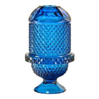 Vintage Teal Blue Fairy Light Candle Holder For Sale