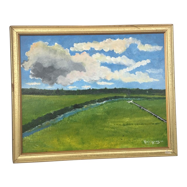 Landscape With Stream Watercolor Painting - Image 1 of 11