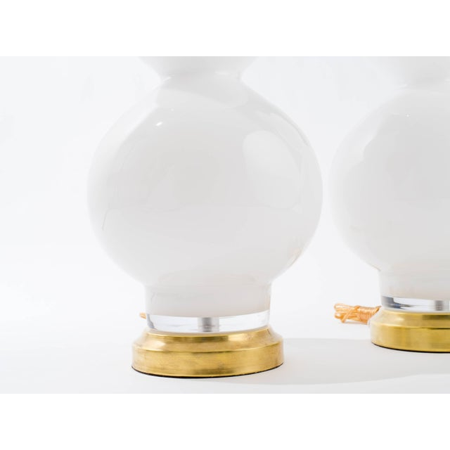 Italian Large Italian Pair of White Glass Lamps For Sale - Image 3 of 8