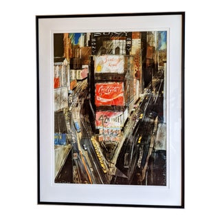 """1980s """"Times Square"""" Cityscape Lithograph, Framed For Sale"""