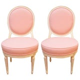 Image of Louis XVI Style Painted Boudoir Chairs Newly Upholsted in a Pink Fabric - a Pair For Sale