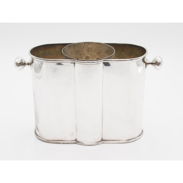 French Art Deco Silver Plate Champagne Bucket Wine Cooler For Sale - Image 9 of 9