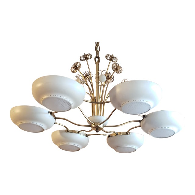 1950s Mid-Century Modern Lightolier Chandelier After Paavo Tynell For Sale