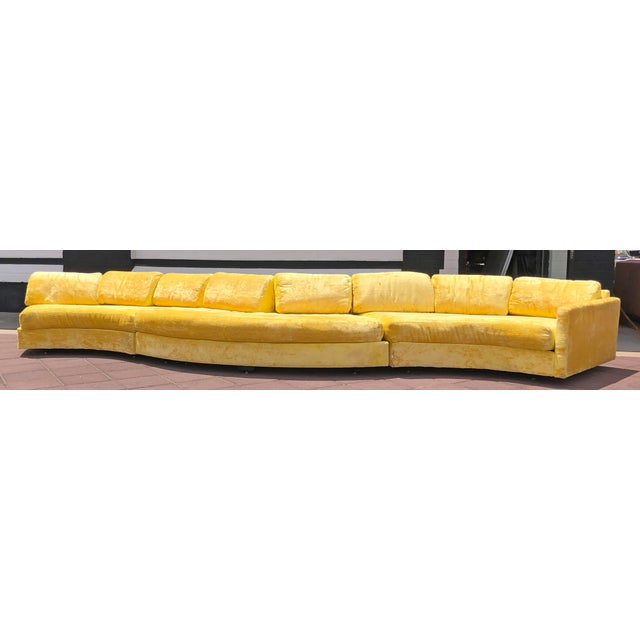 Mid-Century Modern Adrian Pearsall Serpentine Crushed Yellow Velvet Sofa For Sale - Image 3 of 6