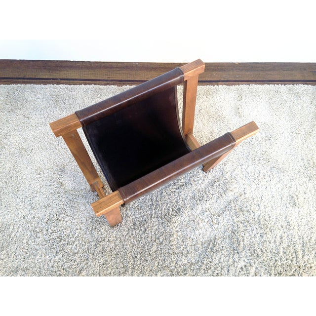 Antique Leather Strap Magazine Rack - Image 4 of 6