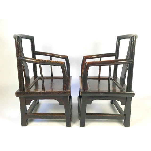 Antique Rosewood Chinese Official's Chairs - Pair - Image 4 of 9
