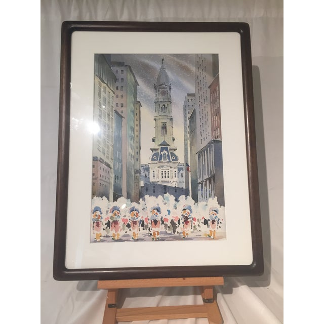 Mid 20th Century Vintage Mid-Century Philadelphia Watercolor Framed Painting For Sale - Image 5 of 5