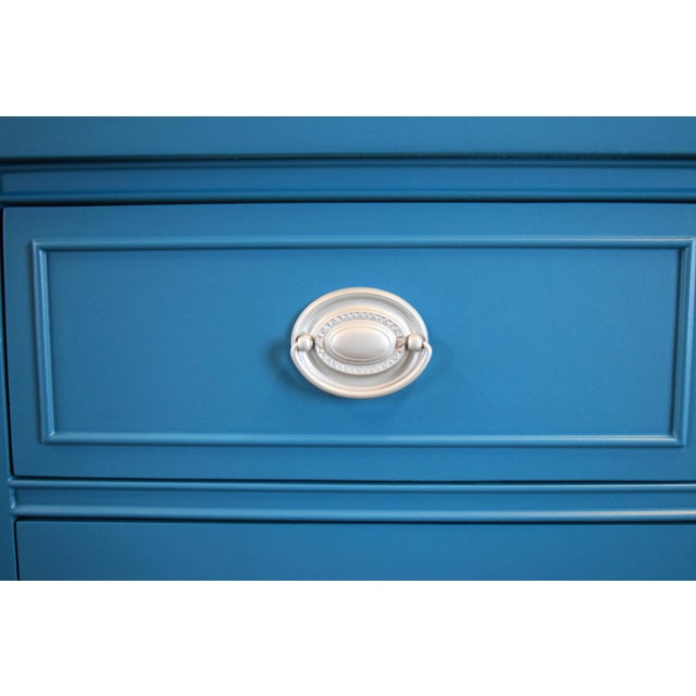 Metal Teal Blue and Silver Sideboard For Sale - Image 7 of 11