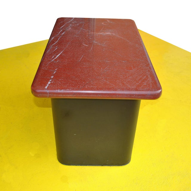 Pair of Red Marble and Wood Side End Tables For Sale - Image 4 of 6