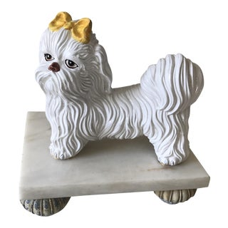 Glazed Ceramic Maltese Dog Figure on Marble Stand