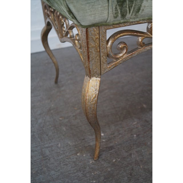 Green French Louis XV Gilt Metal Tufted Benches - Pair For Sale - Image 8 of 10