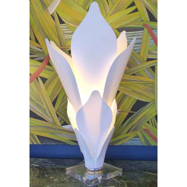 Acrylic Sculptural Lamps in the Style of Rougier Offered for sale is a pair of acrylic sculptural lamps in the style of...