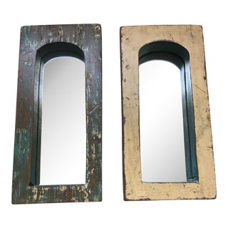 Vintage Indian Archway Painted Teak Mirrors - A Pair