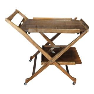Mid Century Modern Folding Serving Cart For Sale