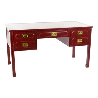 1950s Chinoiserie Red Lacquer Writing Desk For Sale