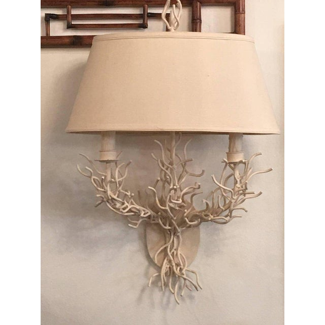 Palm Beach Metal Coral Wall Light Sconces - a Pair For Sale - Image 10 of 11